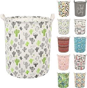 Clothes Laundry Hamper Storage Bin Large Collapsible Storage Basket Kids Canvas Laundry Basket for Home Bedroom Nursery Room (Y-Cactus, L)
