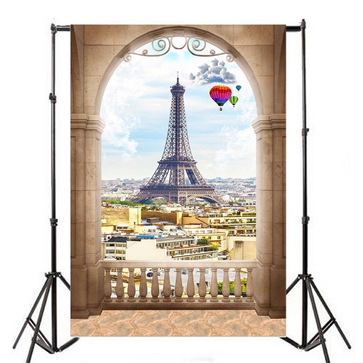 Yeele 5x7フィート アーチウィンドウ パリ 都市景色 写真背景 ビニール ロマンチック エッフェル塔 村 ストーン バラスター 写真 背景 大人 恋人 ベビー パーティー ポートレート 写真ブース 撮影 スタジオ 小道具   B07D5D9FL5