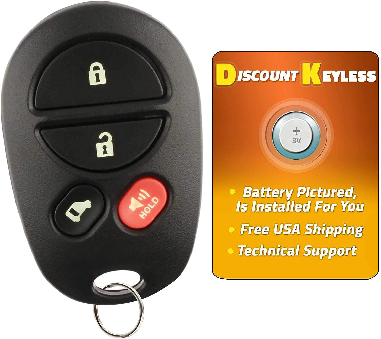 Discount Keyless Replacement Key Fob Car Remote Toyota Highlander Sequoia Sienna GQ43VT20T