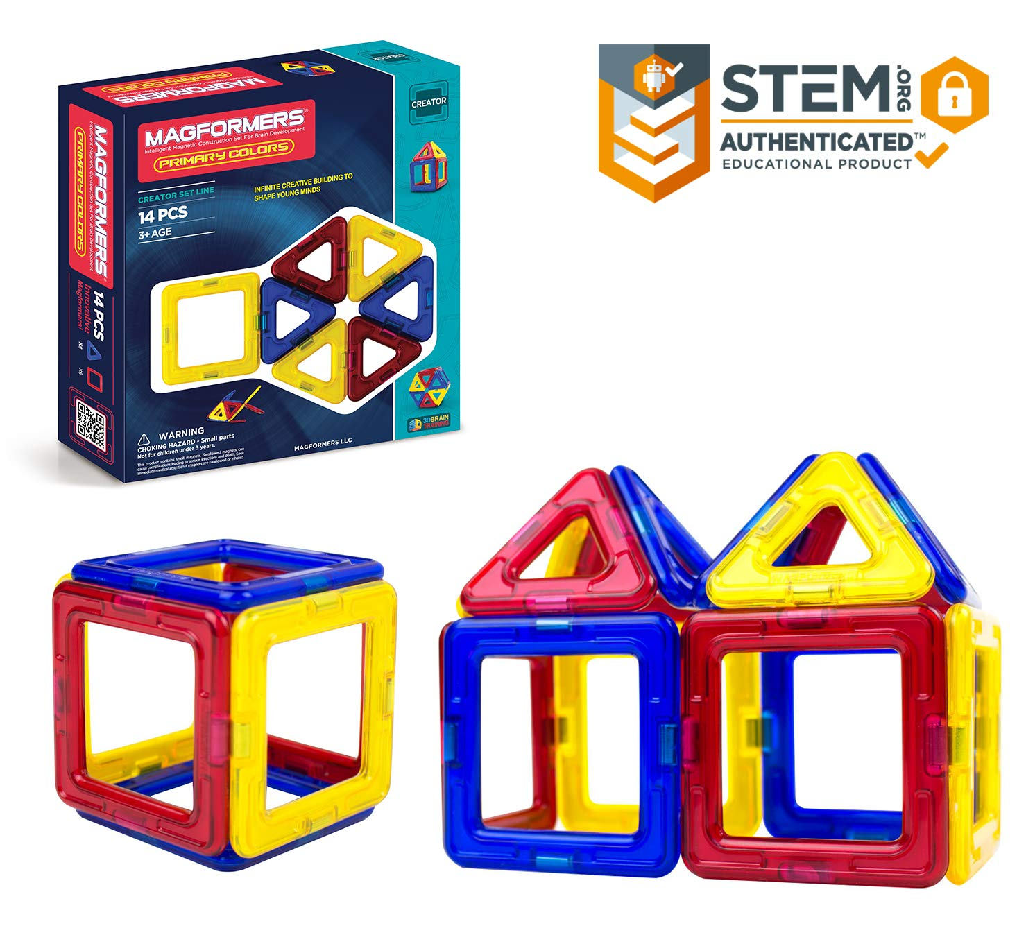 Magformers Creator Primary Colors Set (14-Pieces) Magnetic Building Blocks, Educational Magnetic Tiles Kit , Magnetic Construction STEM Set