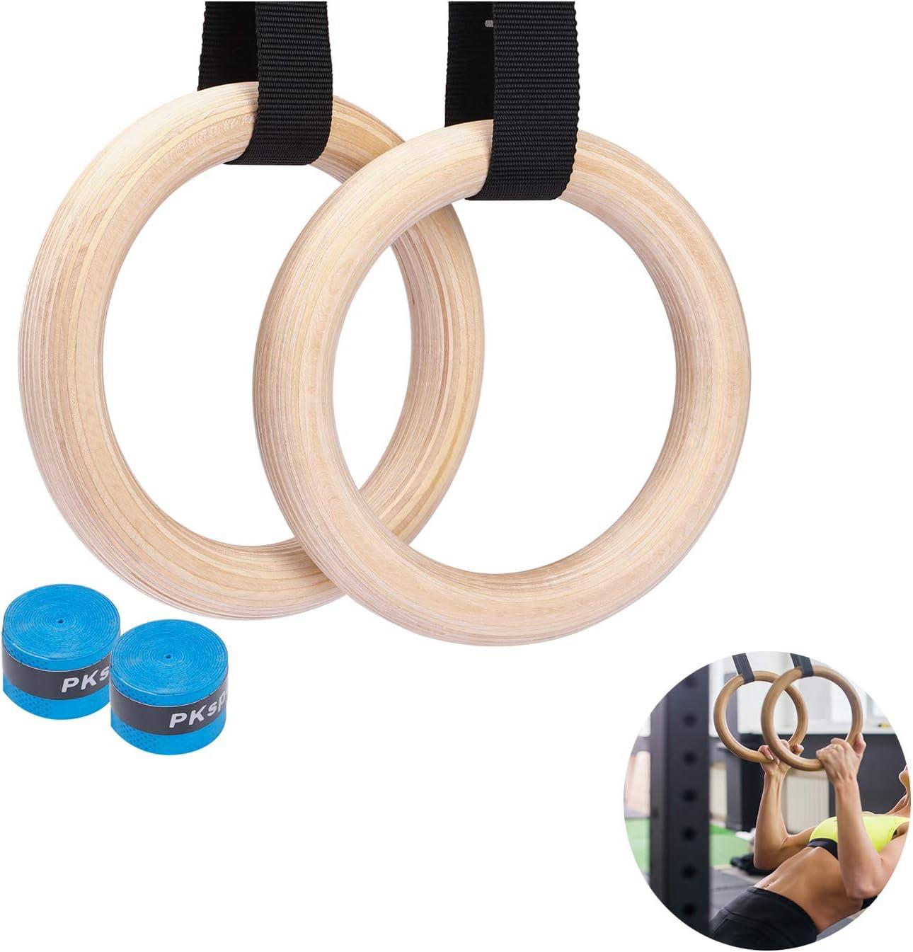 Nobraned 1 par de anillos de gimnasia y correas de madera, 4 ...