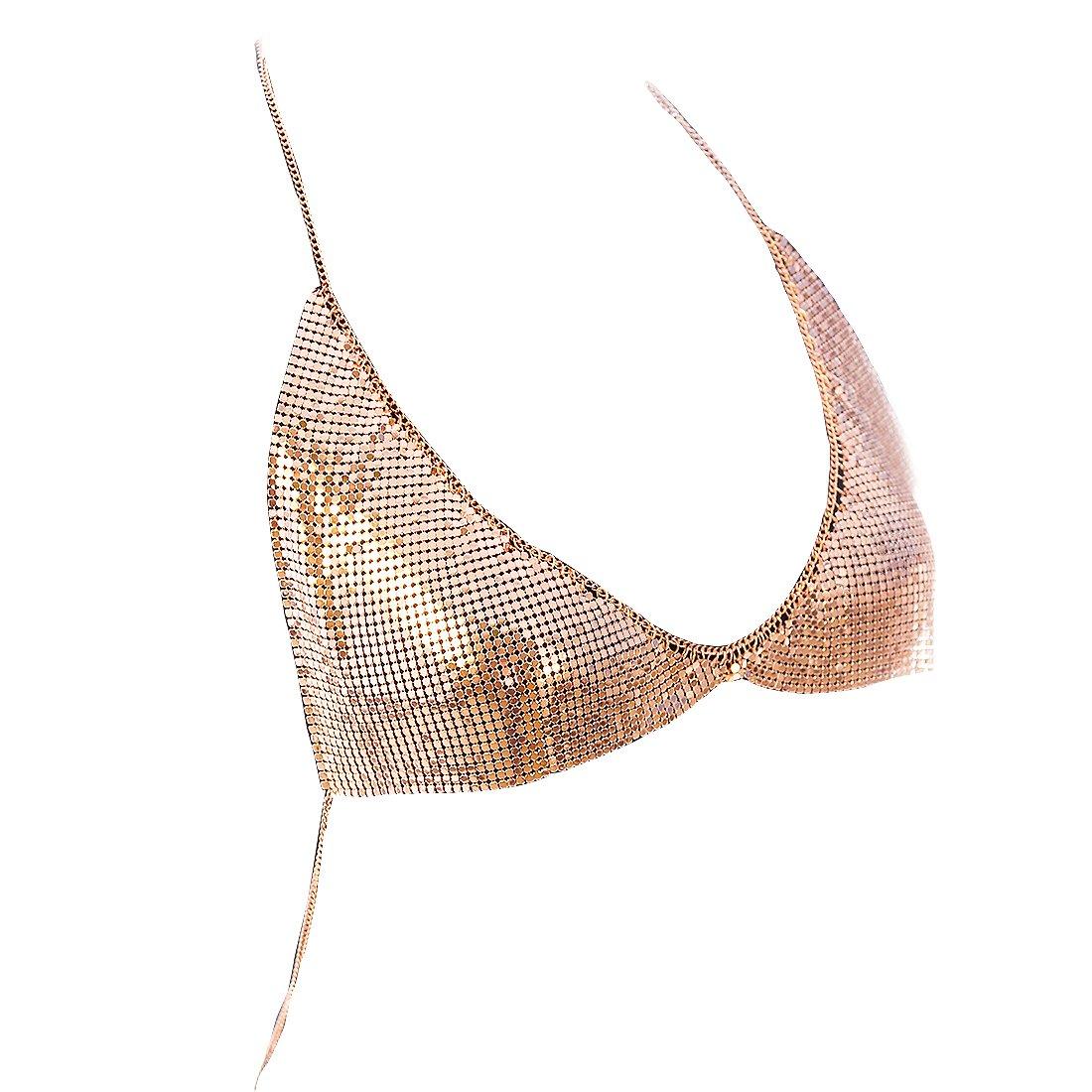 Fine Fashion Women Shinny Chain Bra Necklace Summer Bikini Bralette Body Jewelry Chain (Rose Gold)