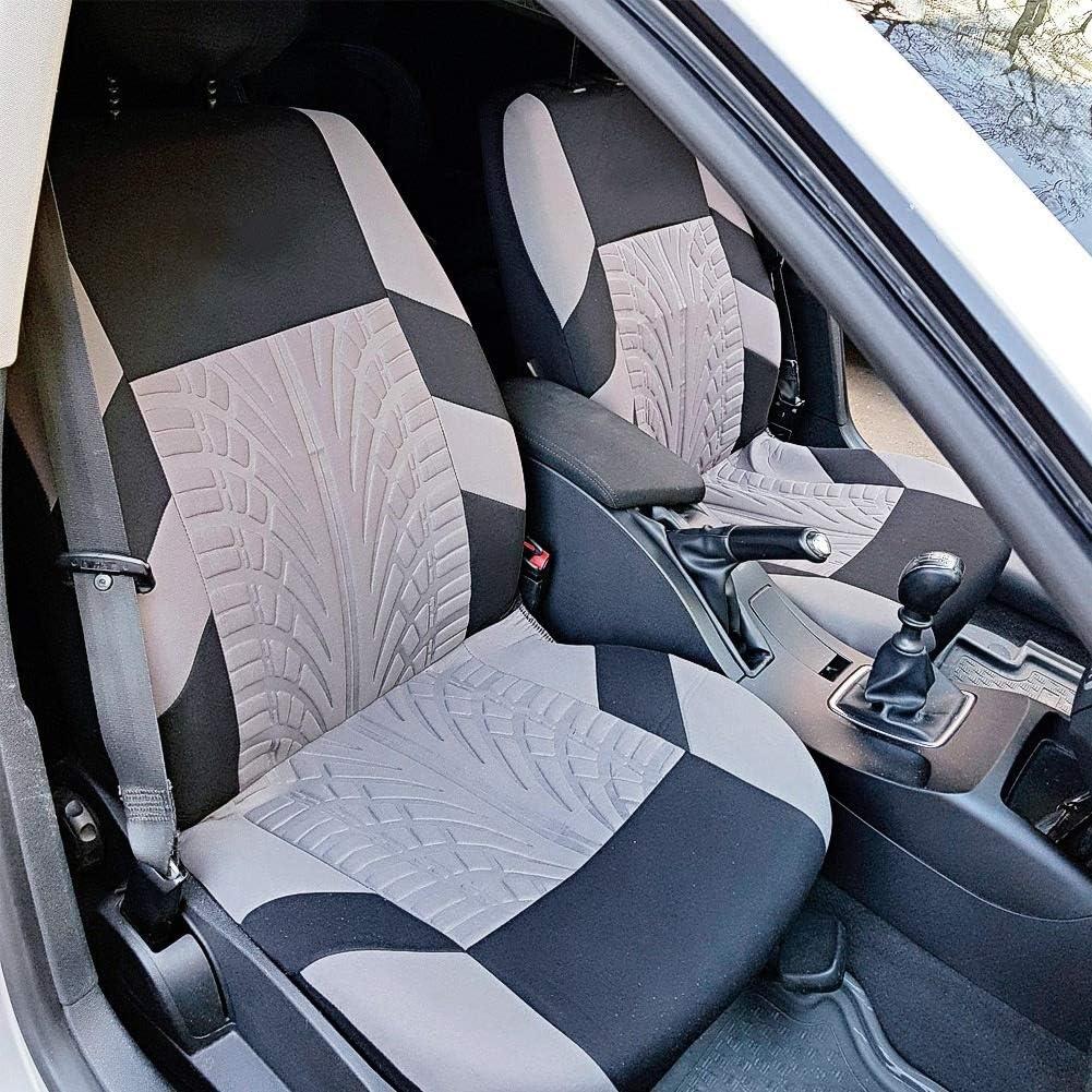 gris Kit de housse de protection for si/ège dauto en tissu de broderie Protecteur de si/ège auto noir universel