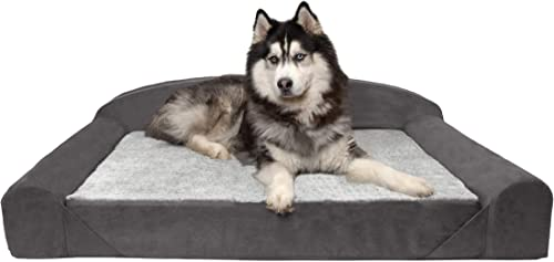Furhaven Pet Dog Bed Therapeutic Traditional Sofa-Style Deluxe Goliath Chaise Living Room Couch Pet Bed w Removable Cover for Dogs Cats – Available in Multiple Colors Styles