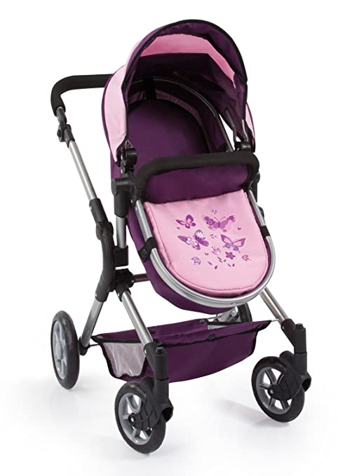 Amazon.com: Bayer Design 18164AA Dolls Pram City Neo with Changing Bag and Underneath Shopping Basket Convertable to A Pushchair, Purple, Soft Pink: Toys & ...