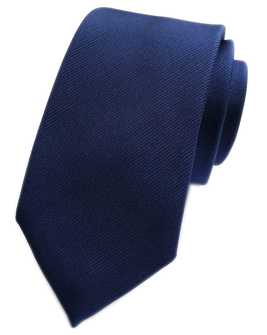 Elfeves Men's Striped Navy Blue Silk Tie Jacquard Woven Formal Meeting Necktie