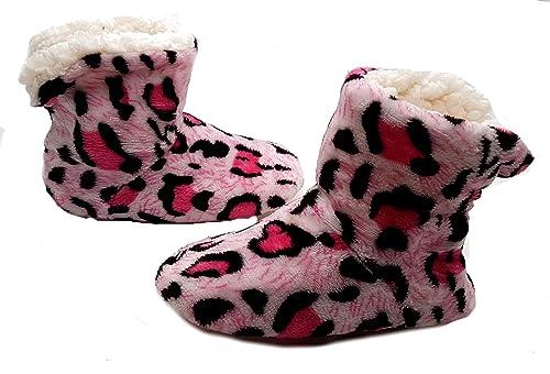 PICCOLI MONELLI Pantofole Peluche Bambina Invernali maculate ccalde  Invernali Chiuse Dietro a Stivaletto Alte tg 28 cfd69d65551