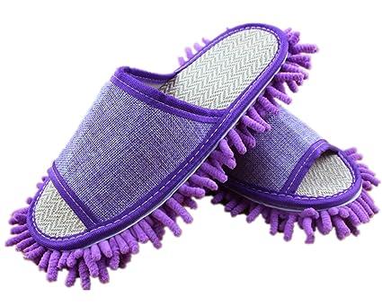 YL historia YL historia Mujer Microfibra polvo Mop Zapatillas Zapatos de limpieza Limpiador de suelo extraíble