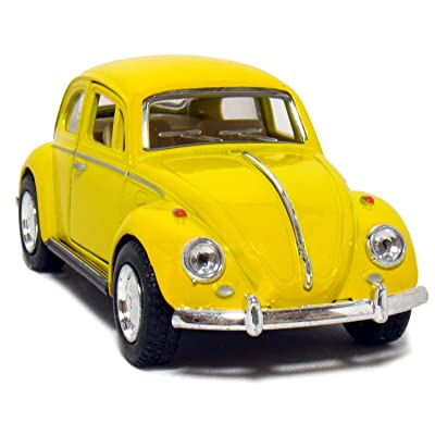 KiNSMART Yellow 1967 Classic Die Cast Volkwagen Beetle Toy with Pull Back Action: Toys & Games