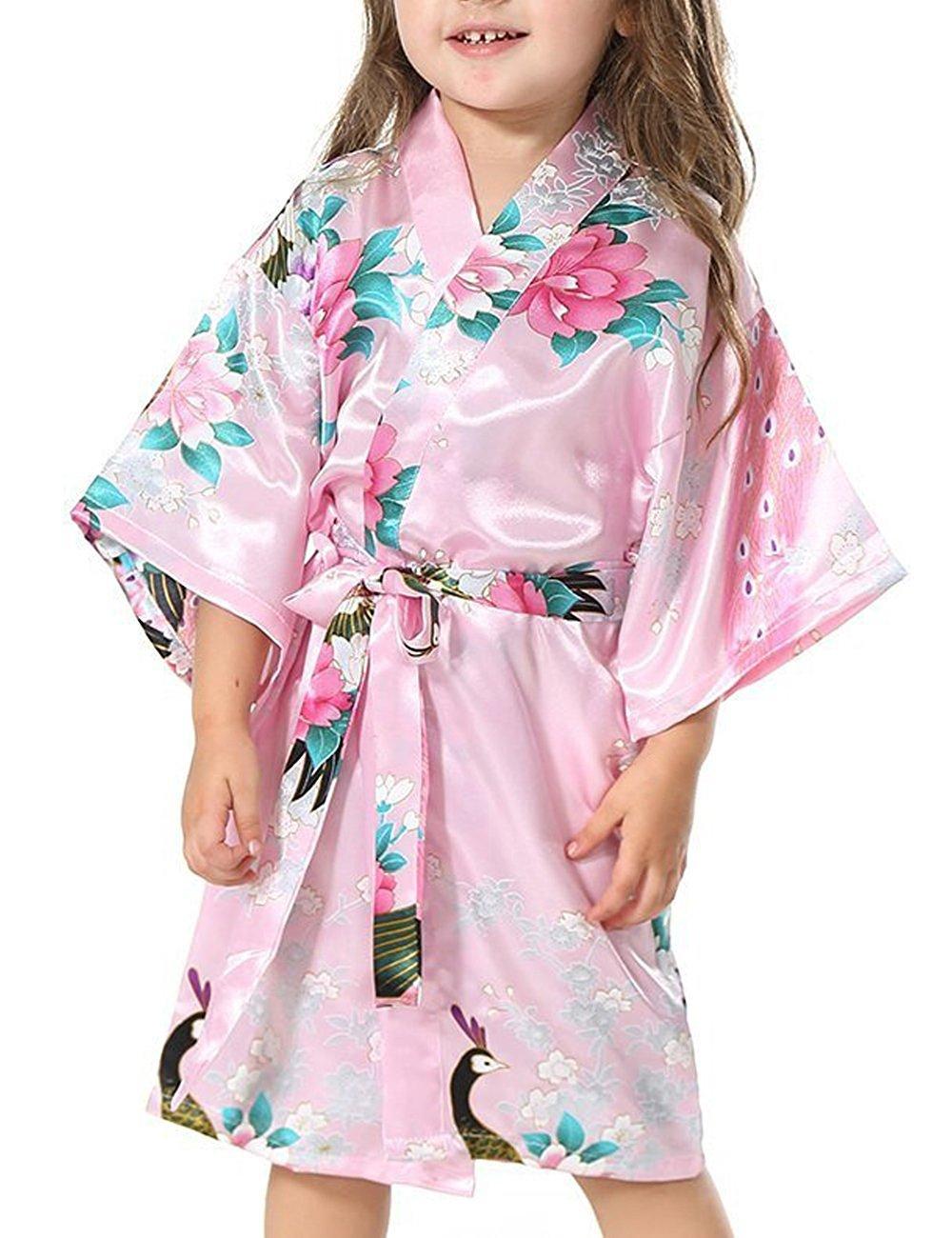 Yidarton Girls Peacock Satin Kimono Robe Fashion Bathrobe Nightgown Pink 6