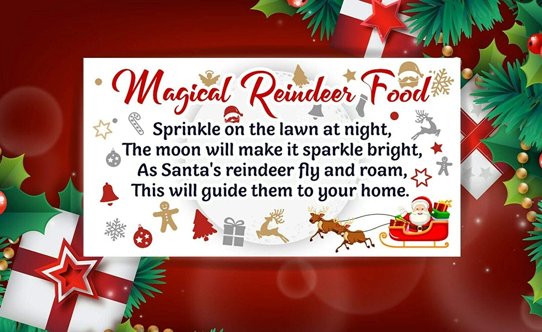 Sara Prints Christmas Magical Reindeer Fun Poem Food Stickers Label 48 Stickers(64 X 33.8mm) Snp24