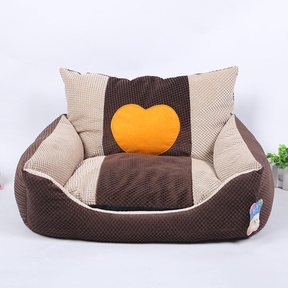 Kennel Pads Dog Beds Pet Bolster Dog Bed Comfort Warm pet Supplies nest Dog Bed Dog mat cat Litter Brown 53  43  30cm Cat Bed Pet Supplies Cover