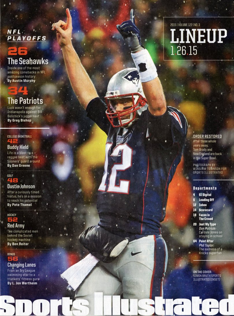 Sports Illustrated, January 26, 2015. Seahawks Over Packers (Cover), Patriots Over Colts, in SuperBowl Semis; Buddy Hield; Dustin Johnson; Soviet-Era Red ...