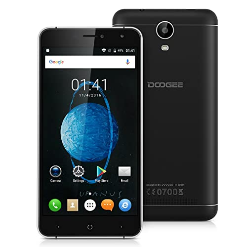 "Doogee X7 Pro Unlocked 4G Smartphone, 6.0"" Supersized Android 6.0 Marshmallow MTK6737 Quad Core 2GB RAM + 16GB ROM Dual Sim Card Mobile Phone with Dual Camera(8.0/5.0MP) WiFi, GPS, FM, Bluetooth, Smart wake, OTA, GoVR Player SIM-free Cell Phone (Black)"