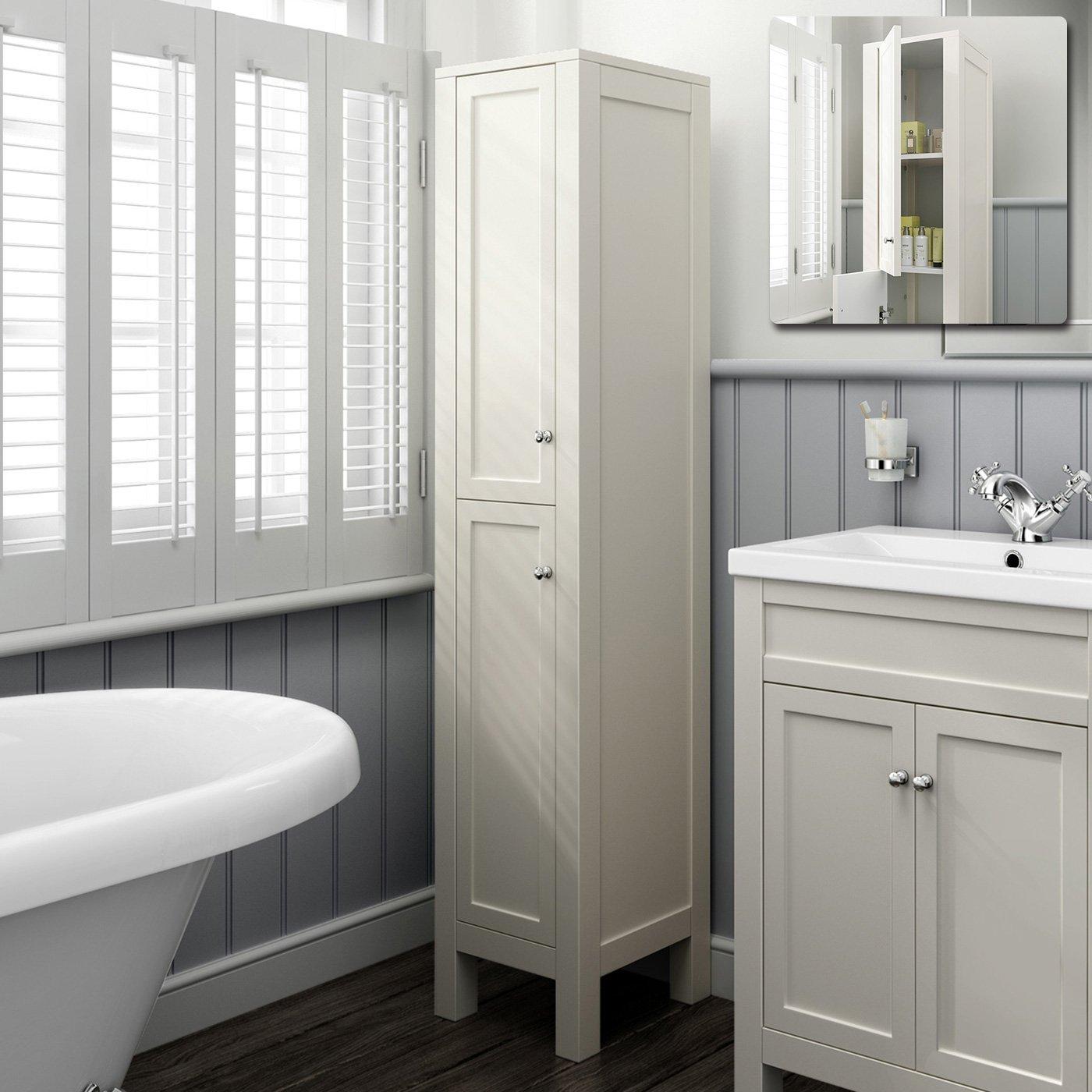 1600mm Tall Ivory Floor Standing Bathroom Furniture Cabinet Storage Unit  Mf1010: Ibathuk: Amazon: Kitchen & Home