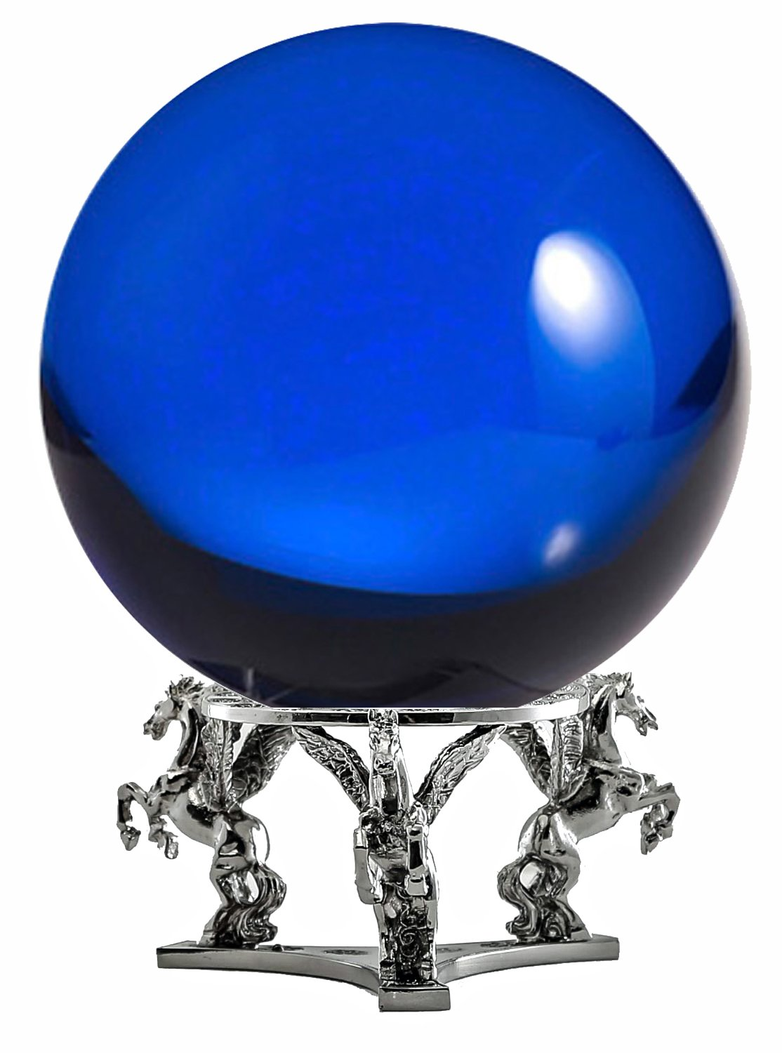 Amlong Crystal Blue Crystal Ball 130mm (5 inch) Including Silver Pegasus Stand by Amlong Crystal