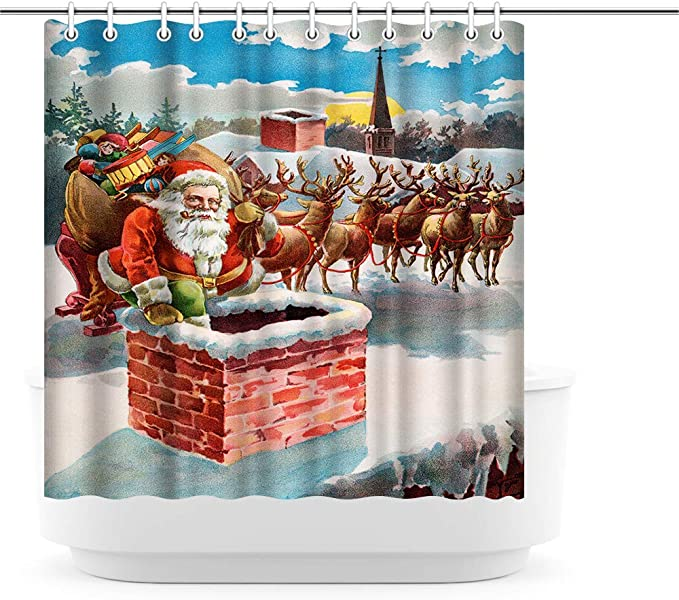 Artsbay Christams Holiday Shower Curtain Funny Santa Claus With Reindeer Sleigh Send Present By Chimney Winter Shower Curtain Watercolor Printed Bathroom Decoration Curtain Waterproof Cloth Fabric Kitchen Dining