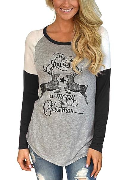 1a06217530 Jeanewpole1 Women T Shirts Reindeer Letter Print Raglan Color Block Long  Sleeve Baseball Shirt Tops at Amazon Women's Clothing store: