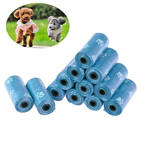 UEETEK Bolsas de desechos para mascotas Bolsas para perros Bolsas de perro biodegradables sin aroma Imprime 12 rollos azules