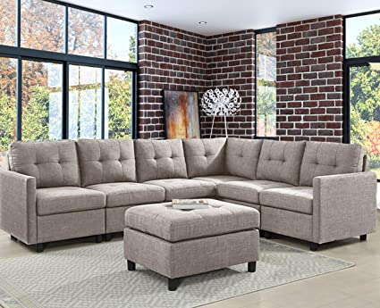 OuchTek 7 Pieces Modular Sectional Sofas with Ottoman Grey, Modern  Furniture Linen Fabric Couches for Living Room