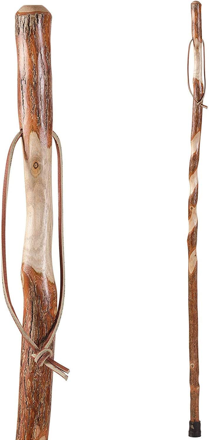 Brazos 55 Twisted Sassafras Handcrafted Wood Walking Stick Hiking Trekking Pole Cane, Made in The USA