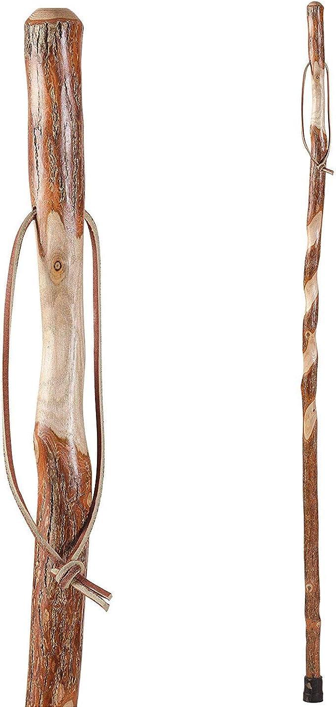 Wooden walking stick hiking stick chrome silver black 97 cm handmade handle gift