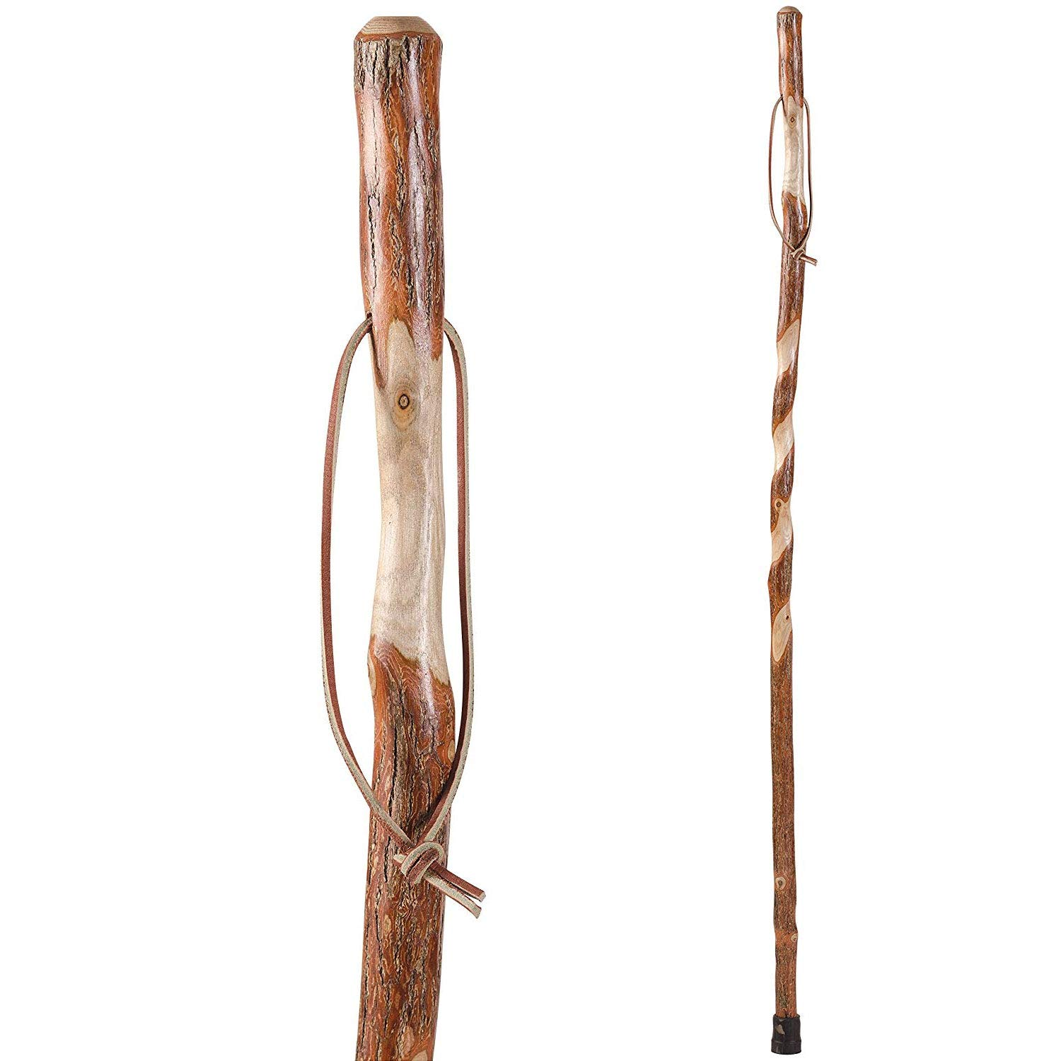 Hiking Walking Trekking Stick - Handcrafted Wooden Walking & Hiking Stick - Made in the USA by Brazos - Twisted Sassafras - 48 inches