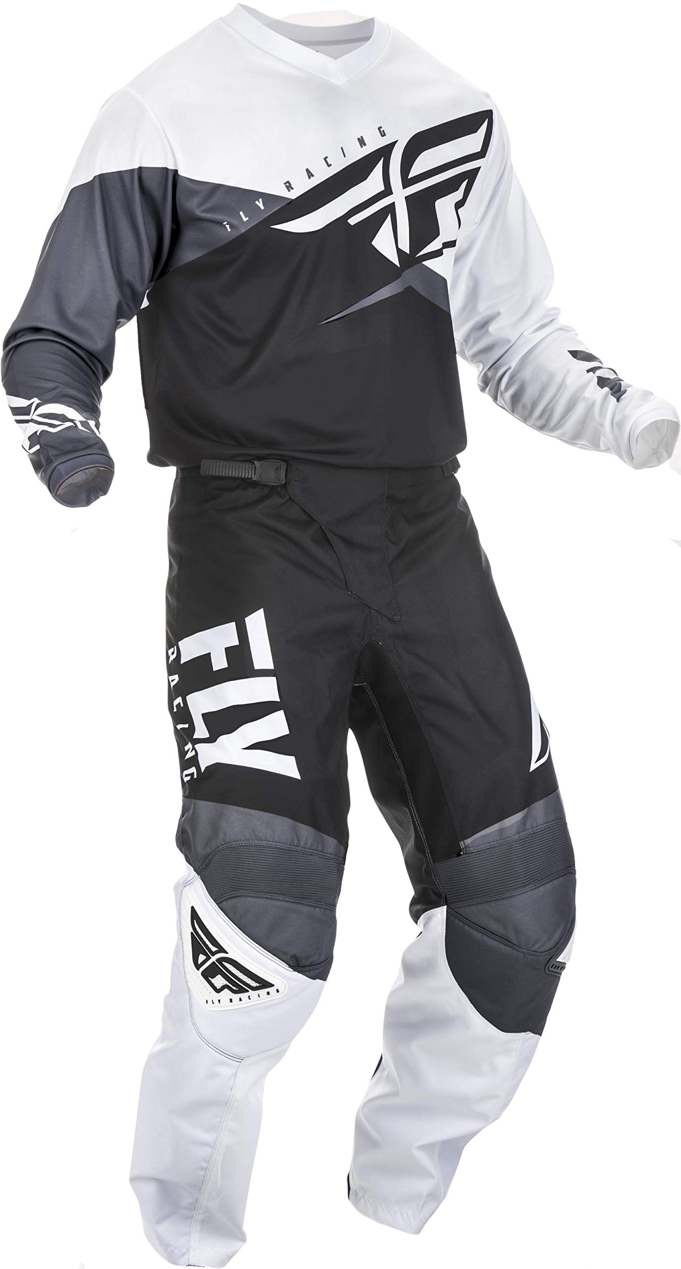 Fly Racing - 2019 F-16 (Mens Black & White & Grey 3X-Large/40W) MX Riding Gear Combo Set, Motocross Off-Road Dirt Bike Light Weight Durable Jersey & Mesh Comfort Liner Stretch Pre Shaped Knees Pant by Fly Racing