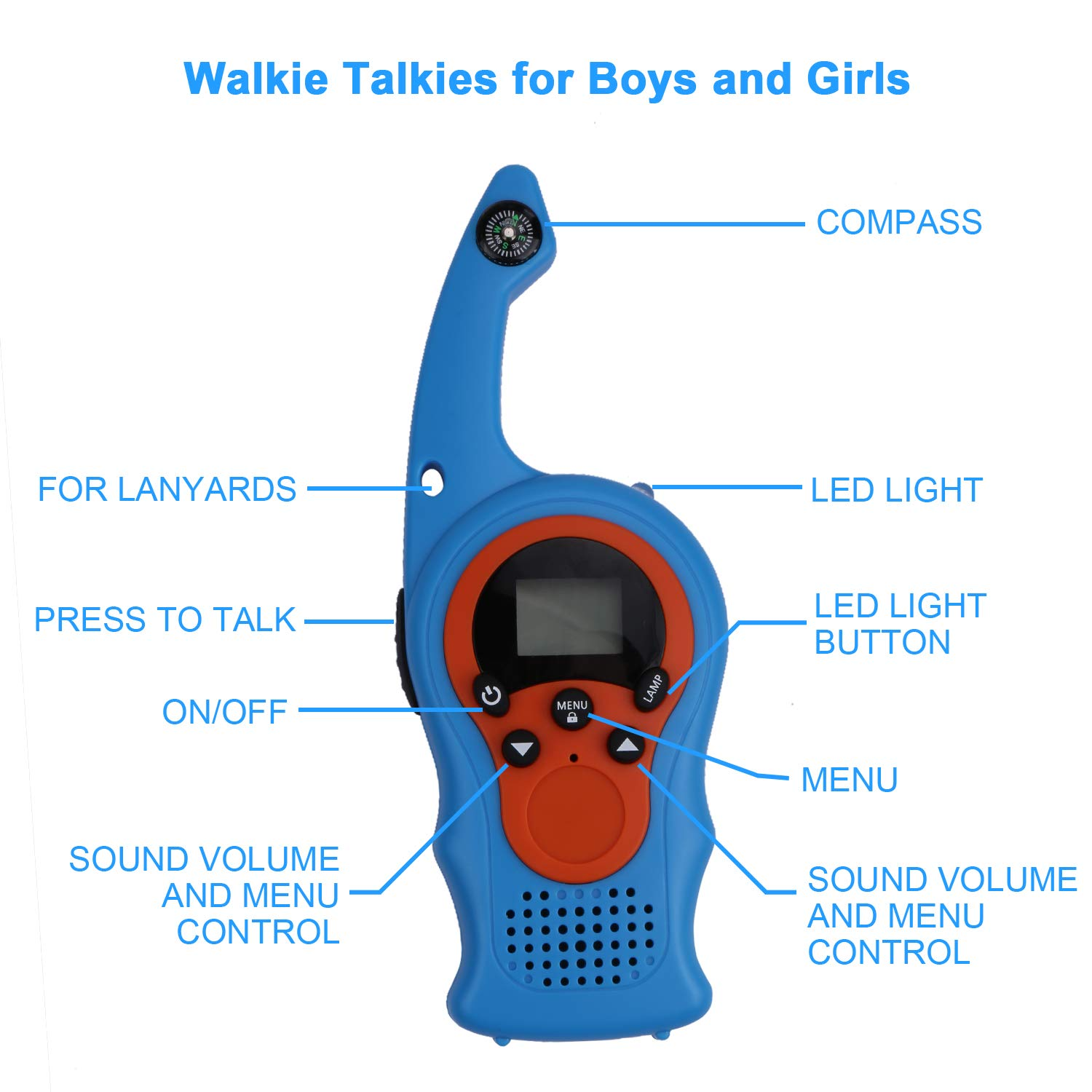 izBuy Kids Walkie Talkies, 22 Channels 3 Miles Range with Compass Flashlight, 2 Way Radio Walkie Talkie for Boys and Girls, 2 Pack Walkie Talkies with Lanyards, Ideal Outdoor Indoor Partner by izBuy (Image #2)