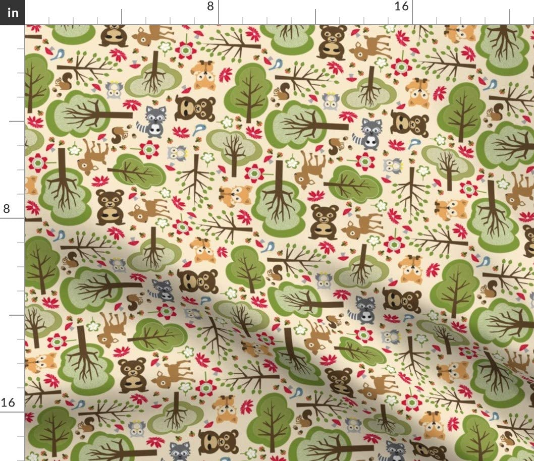 Spoonflower Fabric - Forest Baby Animals Cute Kids Nature Bear Raccoon Woods Printed on Chiffon Fabric by The Yard - Sewing Fashion Apparel Dresses Home Decor