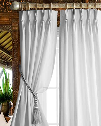 DS White Faux Silk Living Room Bed Room Window Lined Pinch Pleated 27 Wide Curtain Panel Drape 27W X 120L