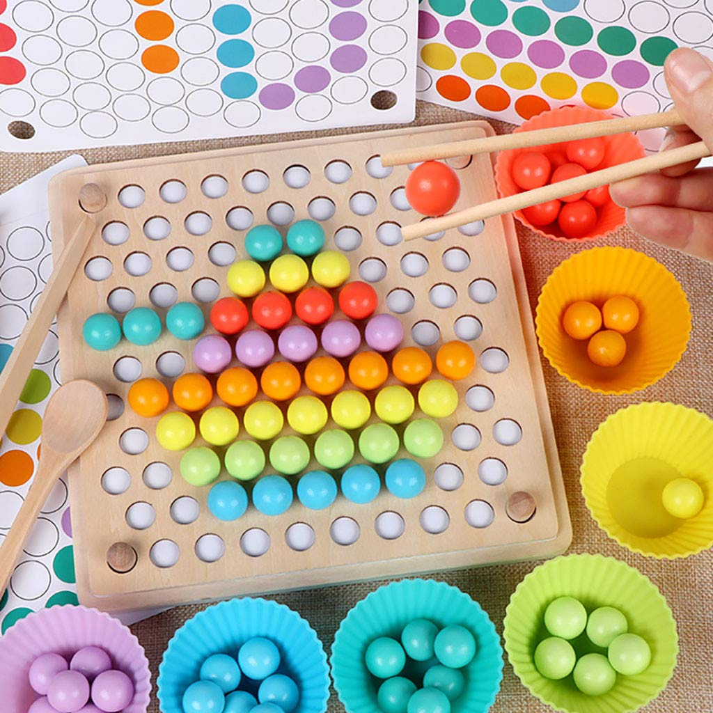 ℊeneral Toddler Game Color Classification Toy 77 Color Beads 5 Map Shape - Use Chopsticks / Spoon / Clip to Play Color Shape Matching Game by ℊeneral (Image #2)