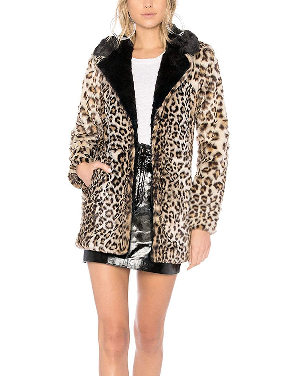 ZLSLZ Womens Ladies Winter Faux Fur Slim Leopard Furry Mid Length Parka Jacket Coat