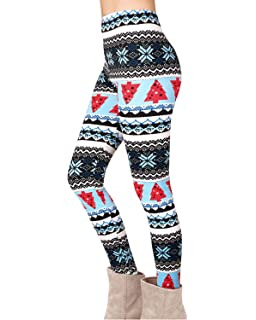 0ec90c00c3a54d Yidarton Women Christmas Leggings Ladies Reindeer Printed Xmas Tree  Stretchy Pants Trousers