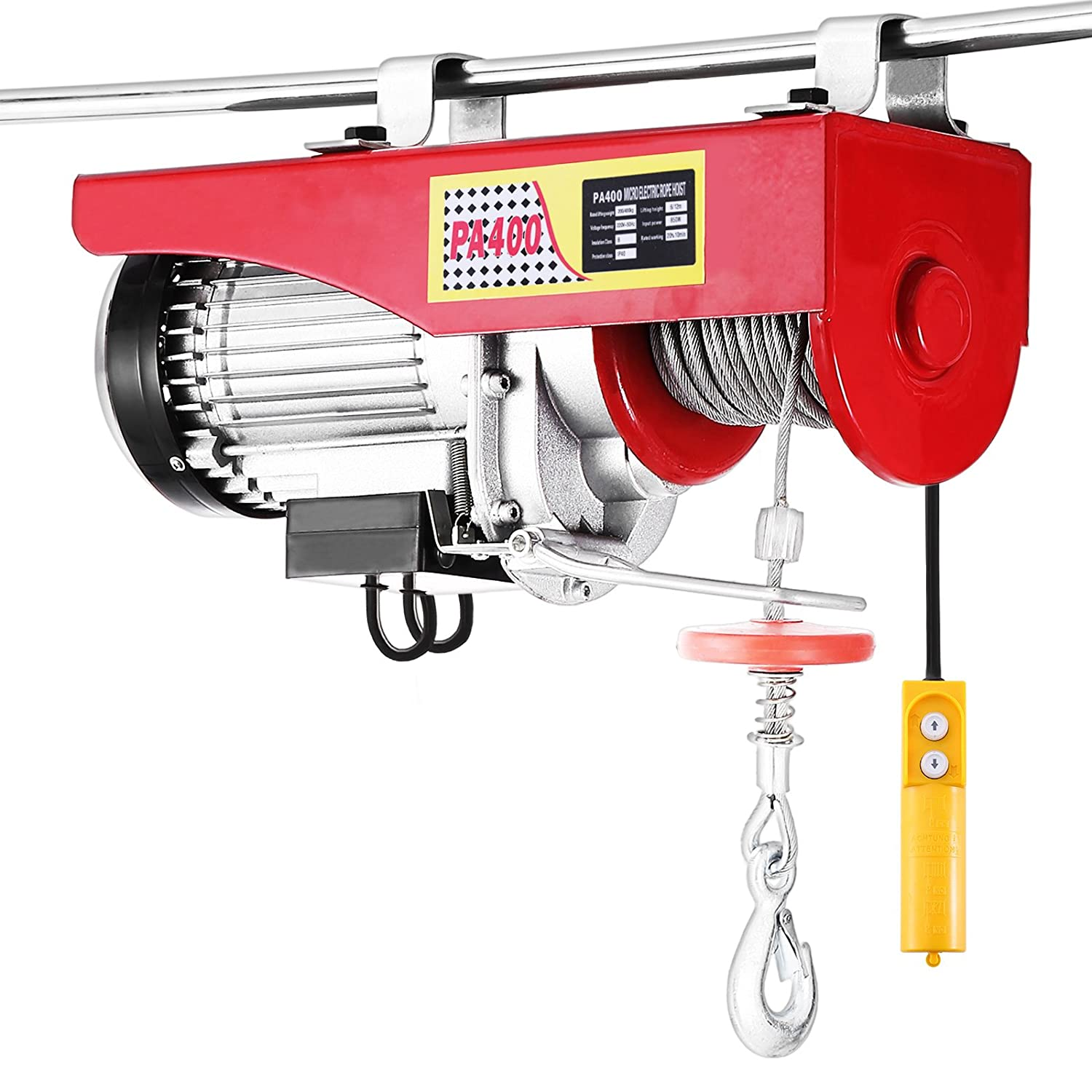 OrangeA Electric Hoist Lift 880LBS 400KG Overhead Electric Hoist 220V 12M Electric Wire Hoist Remote Control Garage Auto Shop Overhead Lift (400KG)