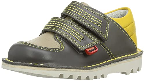 Kickers Sneakerise Lo Lthr Im, Mocasines para Niños, Grau (Dark Grey/Yellow), 21/22 EU: Amazon.es: Zapatos y complementos