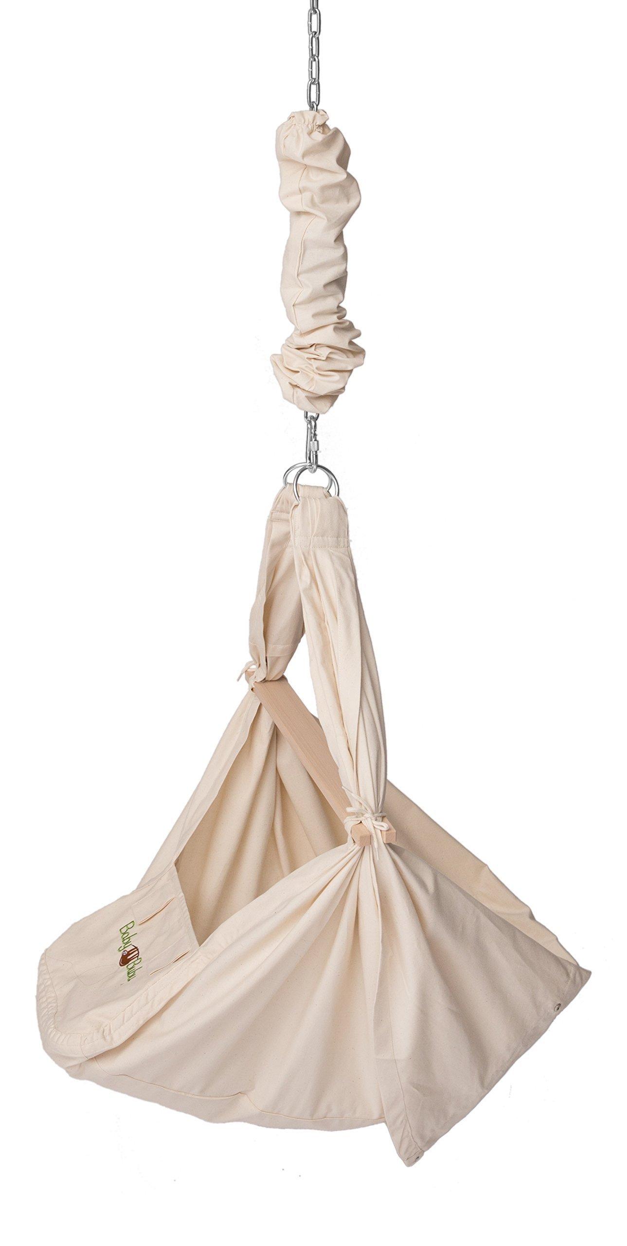 BabyBubu Federwiege 3in1 - Babyhängematte Hängesessel & Wiege in einem | bis 16kg belastbar - mit Upgrade auf 31kg erweiterbar | das schwingende Babybett | 100% Baumwolle und Schafwollmatratze | Entwickelt in Deutschland | Hergestellt in Europa product image