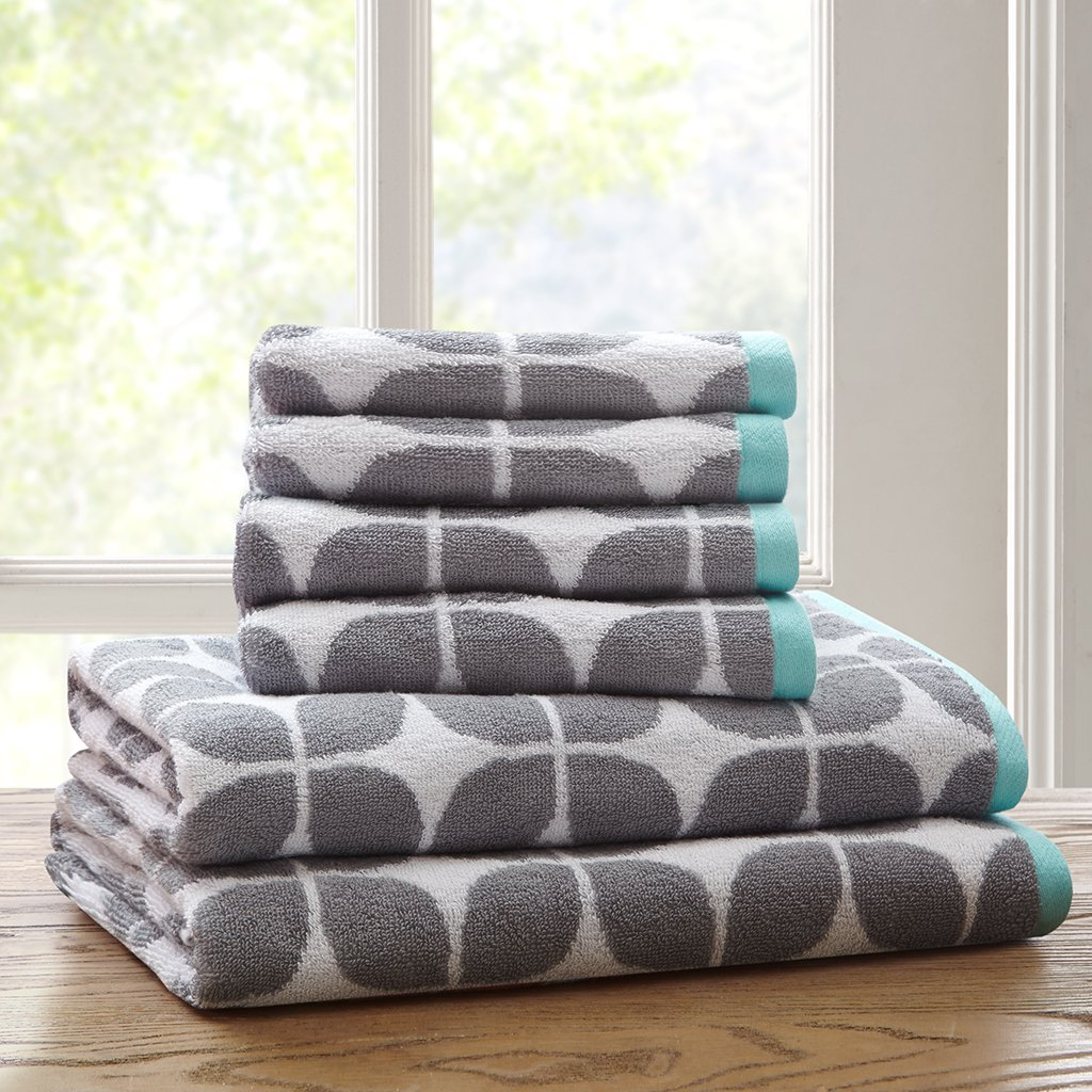 Lita Cotton Bathroom Towels , Jacquard Highly Absorbent Bath Towel Set , 6-Piece Include 2 Bath Towels & 4 Hand Towels , Dark Grey E&E Co. Ltd DBA JLA Home ID91-523