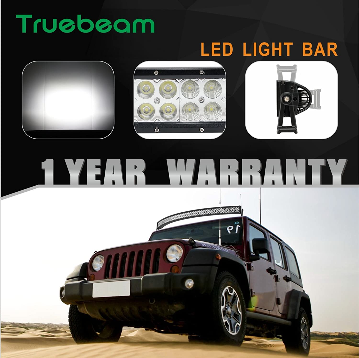 Truebeam 26 Inch 144w Flood Spot Combo Beam Curved Led Light Bar Wiring Harness Diagram Amazoncom Mictuning With Free And 2pcs 27w 4inch Work Mounts For Truck
