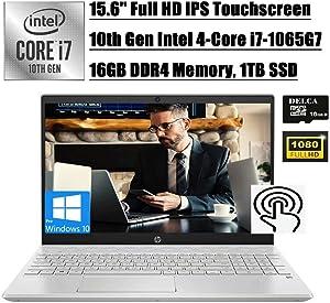 HP Pavilion 15t 2020 Premium Business Laptop I 15.6'' FHD IPS Touchscreen I 10th Gen Intel Quad-Core i7-1065G7 I 16GB DDR4 1TB SSD I Backlit KB USB-C WiFi HDMI Win 10 Pro +Delca 16GB Micro SD Card