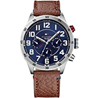 Tommy Hilfiger Men'S Navy Dial Brown Leather Watch - 1791066
