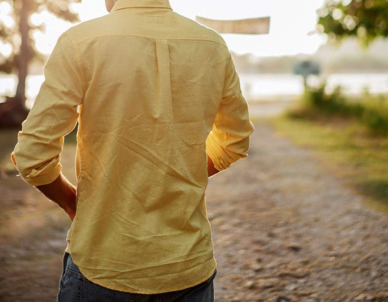 Shooky D Men Cotton Button Down Long Sleeve Shirts,White,XL