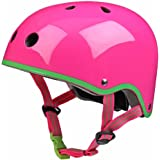 Micro Neon Pink Helmet with Green Trim