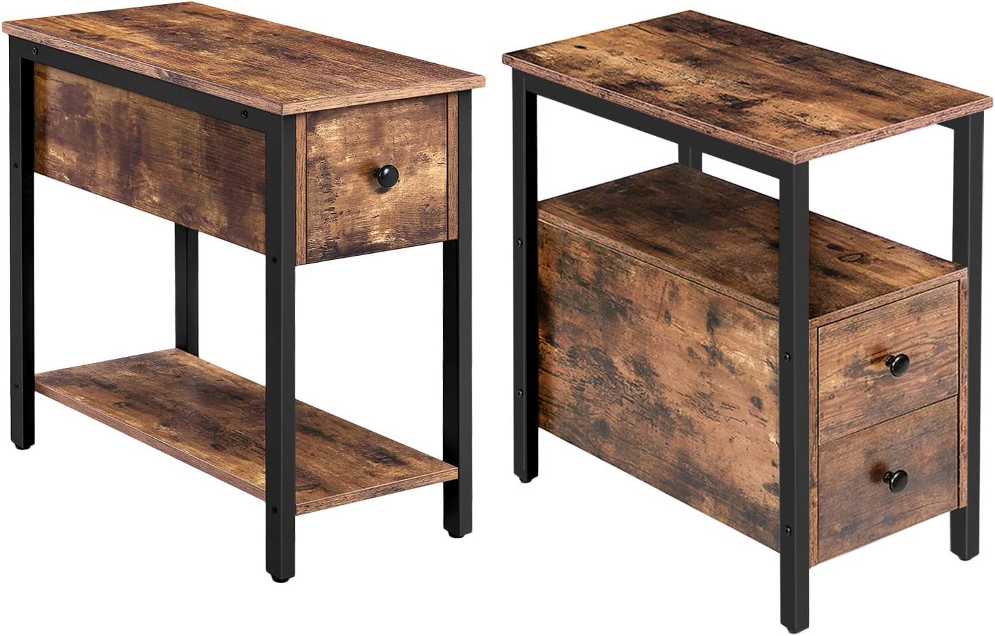 HOOBRO End Table and Side Table Bundle, Chairside Table with 2 Drawer and Open Storage Shelf, 2-Tier Nightstand with Drawer, Industrial Style, Wood Look Accent Furniture with Metal Frame, Rustic Brown