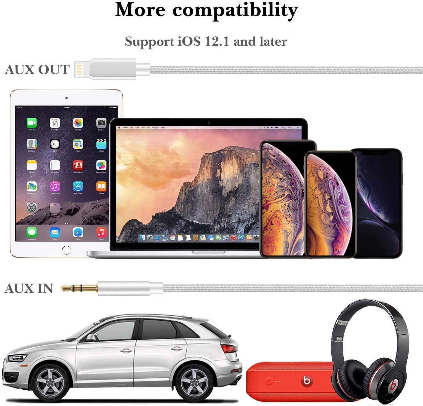 ukiism Aux Cord Compatible with iPhone 6//7//8//X//Xs//Xr//iPad//iPod 3.3ft 3.5mm Male Audio Adapter for Car Home Stereo /&Headphone Aux Cable for Car Nylon Braided - Silver