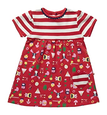 f7b7bf5afff Piccalilly Organic Cotton Red and White Striped Girls Bowness Print Summer  Dress  Amazon.co.uk  Clothing