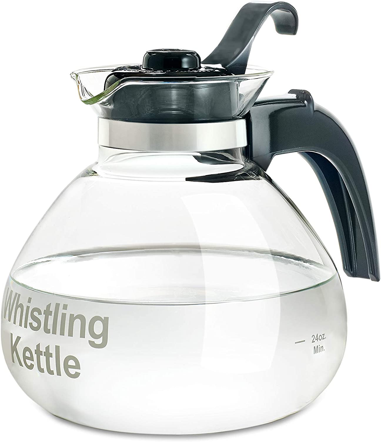 Glass Stovetop Kettle, Whistling, German Borosilicate