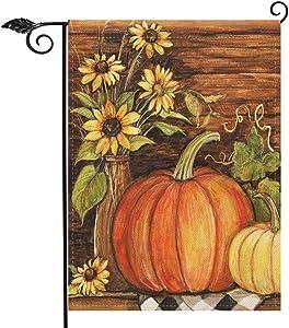 Hzppyz Welcome Autumn Home Decorative Garden Flag Pumpkin Sunflowers, Happy Fall House Yard Outside Farmhouse Decor Flag, Thanksgiving Decorations Seasonal Outdoor Small Flag Double Sided 12 x 18
