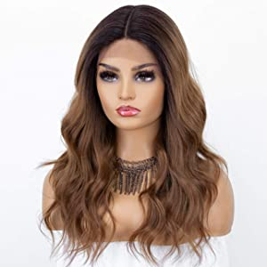 K'ryssma New Brown Ombre Lace Front Wig with Dark Roots Long Synthetic Wigs T Part Deep Middle Part Wavy Brown Wig for Women Heat Resistant 16 Inches