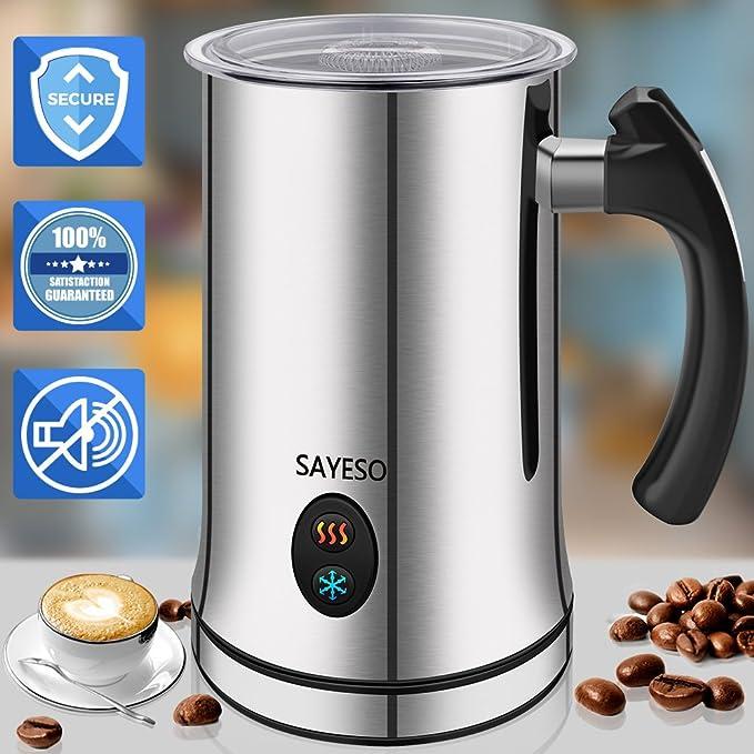Espumador de leche, Espumador de leche eléctrico con funcionalidad caliente o fría, Espumador y Calentador Automático de leche, Acero Inoxidable Plateado, ...